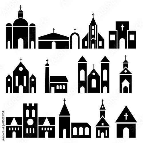 Church building icons. Vector basilica and chapel silhouettes Fototapete
