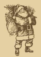 Santa Claus Etching Style Drawing. Vintage Style Christmas Card.