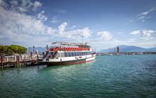 Ferry Boat On Garda Lake In Italy