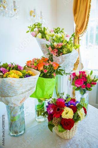 Beautiful Bouquet Of Flowers In Vases Wedding Celebrations Buy