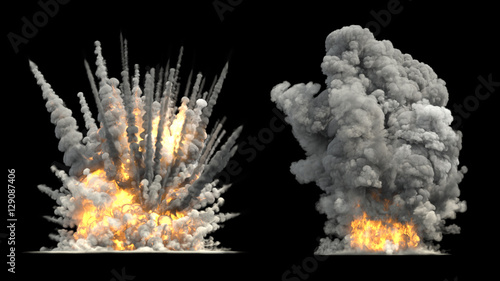 Fotografie, Obraz  Big explosion on ground