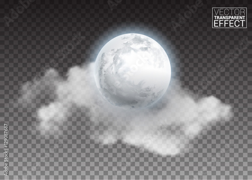 Realistic detailed full big moon with clouds isolated on transparent background Canvas-taulu