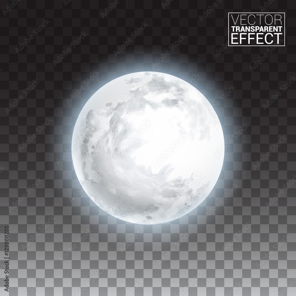 Fototapeta Realistic detailed full big moon isolated on transparent background. Creative Vector illustration