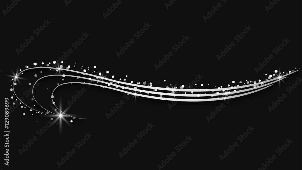 Fototapety, obrazy: silver ornate elements with sparkling stars & snow - vector illustration