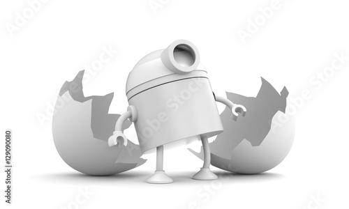 Fotografia, Obraz  Born of robot. Broken chicken egg. 3d illustration