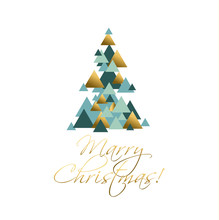 Abstract Geometry Concept Christmas Tree Vector Illustration. Gr