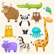 Zoo animals set. Panda,yak, crocodile, giraffe, owl, hippo, fish, zebra