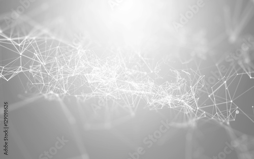 3D Abstract Polygonal White Background with Low Poly Connecting Dots and Lines - Connection Structure - Futuristic HUD Background - 129098626