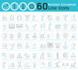 Set of business conceptual thin line icons collection. Modern b