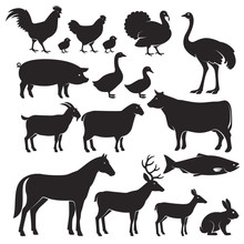 Farm Animals Silhouette Icons....