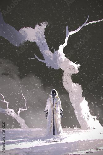 biały płaszcz stojący w zimowej scenerii z białymi drzewami, malarstwo ilustracyjne