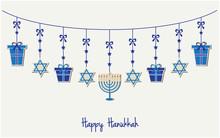 Happy Hanukkah Greeting Card Or Background. Vector Illustration