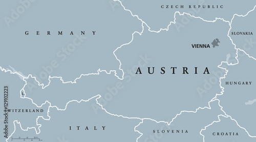 Map Of Italy And Neighbouring Countries.Austria Political Map With Capital Vienna National Borders And