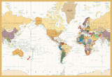 Vintage Color Map America Centered Political World Map