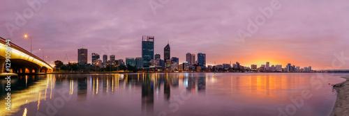 Spectacular sunrise over the city of Perth, Australia