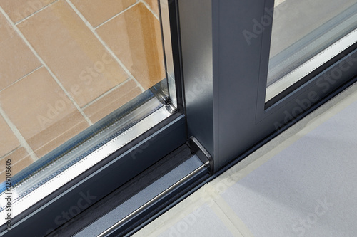 Sliding Glass Door Detail And Rail Buy This Stock Photo And