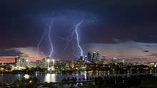 Stunning Multiple Lightning Strikes Over Perth CBD