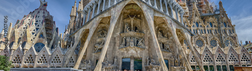 Photo Stands Barcelona Detailed panoramic view on the bottom part of Sagrada Familia in Barcelona, Spain