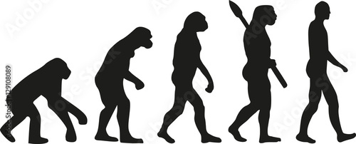 Leinwand Poster Darwin evolution of human