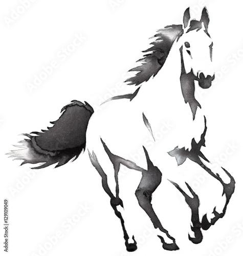 bialo-czarny-rysunek-kon-w-galopie