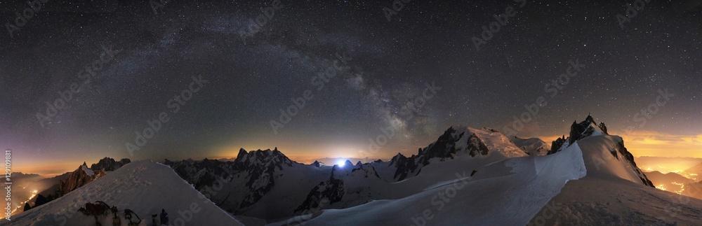 Fototapety, obrazy: Mountain stars and milky way Chamonix