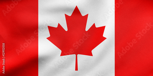 Spoed Foto op Canvas Canada Flag of Canada waving, real fabric texture