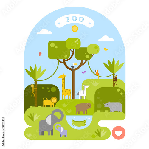Beautiful animals in the zoo. Vector flat illustration.