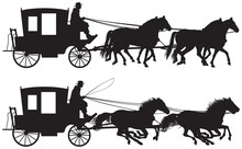 Carriage Drawn By Four Horse's Silhouettes, Four-in-hand Horse-drawn Traveling Carriage Realistic Vector Illustration