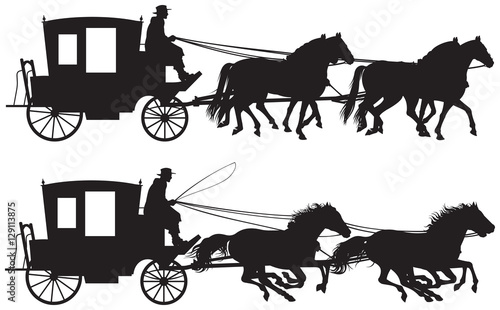 Canvas Print Carriage drawn by four horse's silhouettes, four-in-hand horse-drawn traveling c
