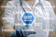 Quit Smoking Word Cloud, Health Concept. Doctor Presses Stop Cigarette Smoking Button On Virtual Touch Medical Screen On Background Of Cloud Tag Smoke. Medicine Wellness Healthcare.