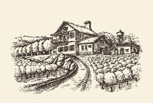 Farm Landscape. Hand-drawn Vin...