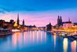 canvas print picture - Zurich Skyline at the Blue Hour, Switzerland
