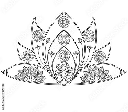 Fiori Mandala.Vector Illustration Of Mandala Lotus Flower For Coloring Book