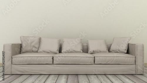 Fototapeta Modern minimalistic design of sofa. 3d render obraz na płótnie
