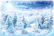 Winter landscape with snowflakes frame