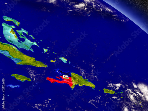 Valokuvatapetti Haiti with embedded flag on Earth