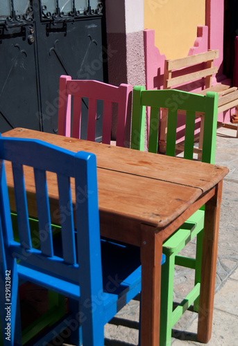 Colorful Mexican Chairs And Table