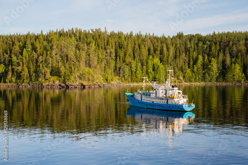 Fotografie, Obraz  Research vessel off the coast of the island of Valaam