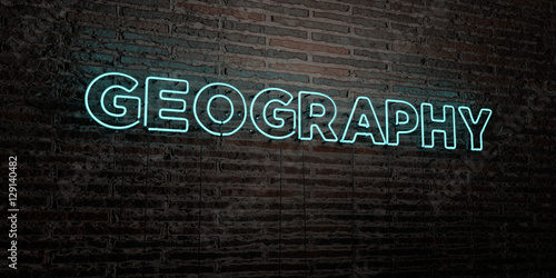 Fotografie, Obraz  GEOGRAPHY -Realistic Neon Sign on Brick Wall background - 3D rendered royalty free stock image