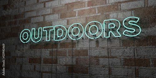 Photo  OUTDOORS - Glowing Neon Sign on stonework wall - 3D rendered royalty free stock illustration
