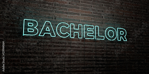 Photo BACHELOR -Realistic Neon Sign on Brick Wall background - 3D rendered royalty free stock image