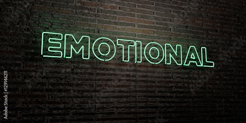 Fotografie, Obraz  EMOTIONAL -Realistic Neon Sign on Brick Wall background - 3D rendered royalty free stock image