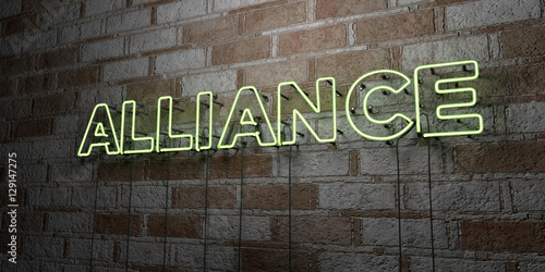 ALLIANCE - Glowing Neon Sign on stonework wall - 3D rendered royalty free stock illustration Canvas Print