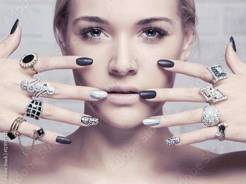 beauty face.woman's hands w...