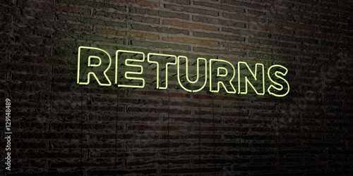 Fotografía  RETURNS -Realistic Neon Sign on Brick Wall background - 3D rendered royalty free stock image