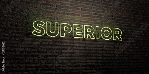 Fotografie, Obraz  SUPERIOR -Realistic Neon Sign on Brick Wall background - 3D rendered royalty free stock image