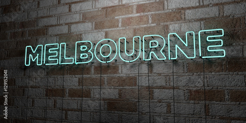 MELBOURNE - Glowing Neon Sign on stonework wall - 3D rendered royalty free stock illustration.  Can be used for online banner ads and direct mailers..