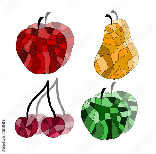 Foto op Aluminium Pixel Set of stained glass fruit