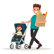 Father with a package of products and a toddler in the pram. Vec