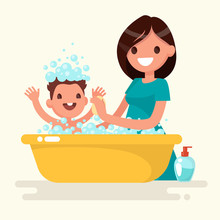 Happy Mother Washes Her Baby. Vector Illustration In A Flat Styl